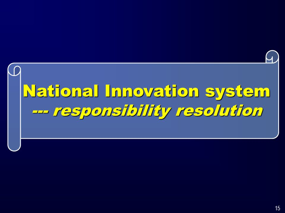 15 National Innovation system --- responsibility resolution