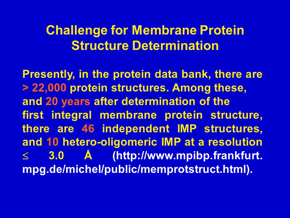 Challenge for Membrane Protein Structure Determination Presently, in the protein data bank, there are > 22,000 protein structures.