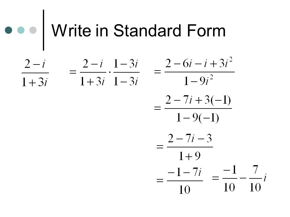 Write in Standard Form