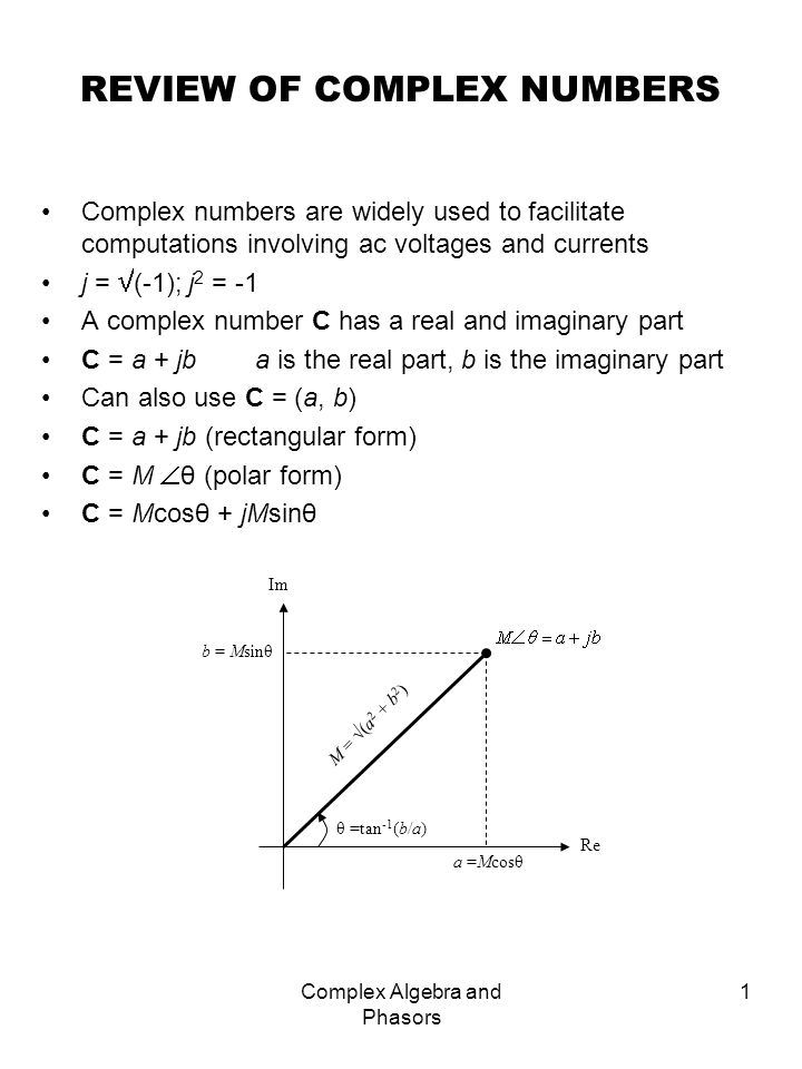 Complex Algebra and Phasors 2 ARITHMETIC OPERATIONS (a + jb) + (c + jd) = (a + c) + j(b + d) (a + jb) - (c + jd) = (a - c) + j(b - d) Polar form: (a + jb) (c + jd) = (ac – bd) + j(bc + ad) Polar form: Complex conjugate C = a – jb = CC = a 2 + b 2 Special case reciprocal 1/j: