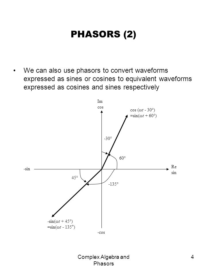Complex Algebra and Phasors 4 PHASORS (2) We can also use phasors to convert waveforms expressed as sines or cosines to equivalent waveforms expressed
