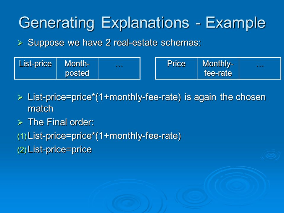 Generating Explanations - Example Suppose we have 2 real-estate schemas: Suppose we have 2 real-estate schemas: List-price=price*(1+monthly-fee-rate) is again the chosen match List-price=price*(1+monthly-fee-rate) is again the chosen match The Final order: The Final order: (1) List-price=price*(1+monthly-fee-rate) (2) List-price=price … Month- posted List-price… Monthly- fee-rate Price