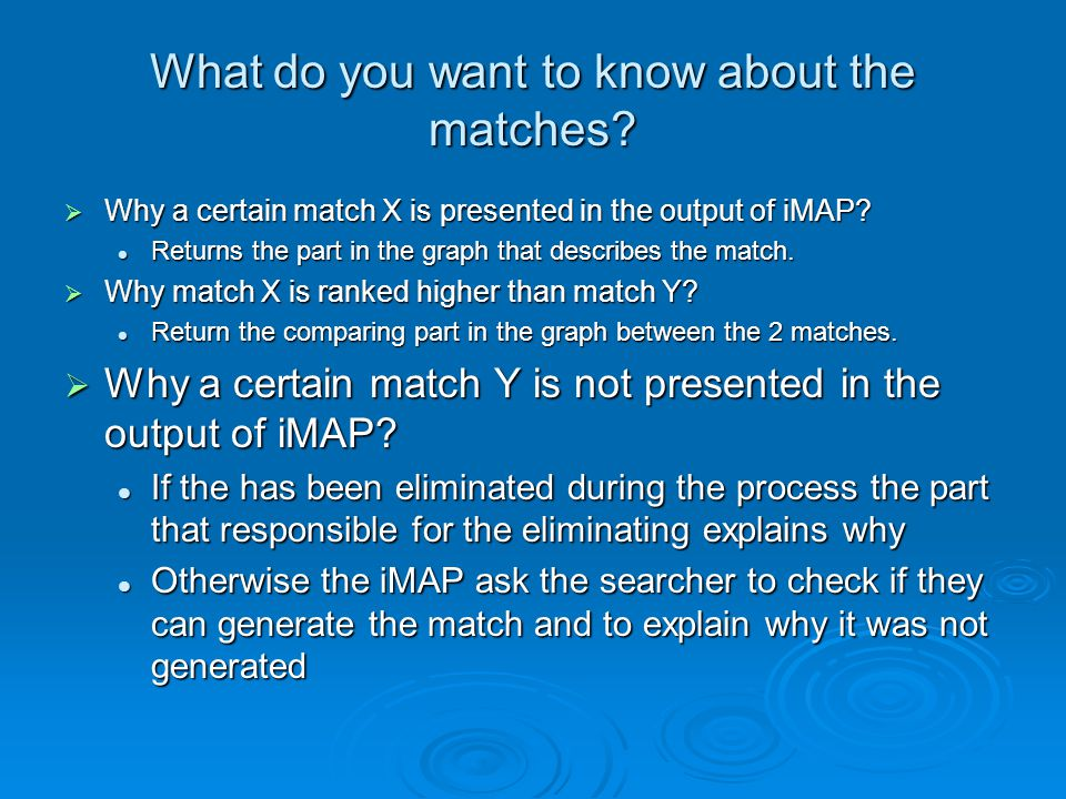 What do you want to know about the matches.