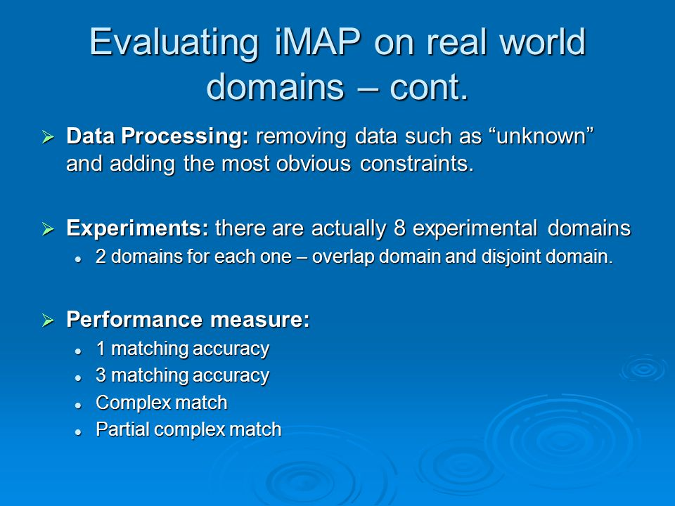 Evaluating iMAP on real world domains – cont.