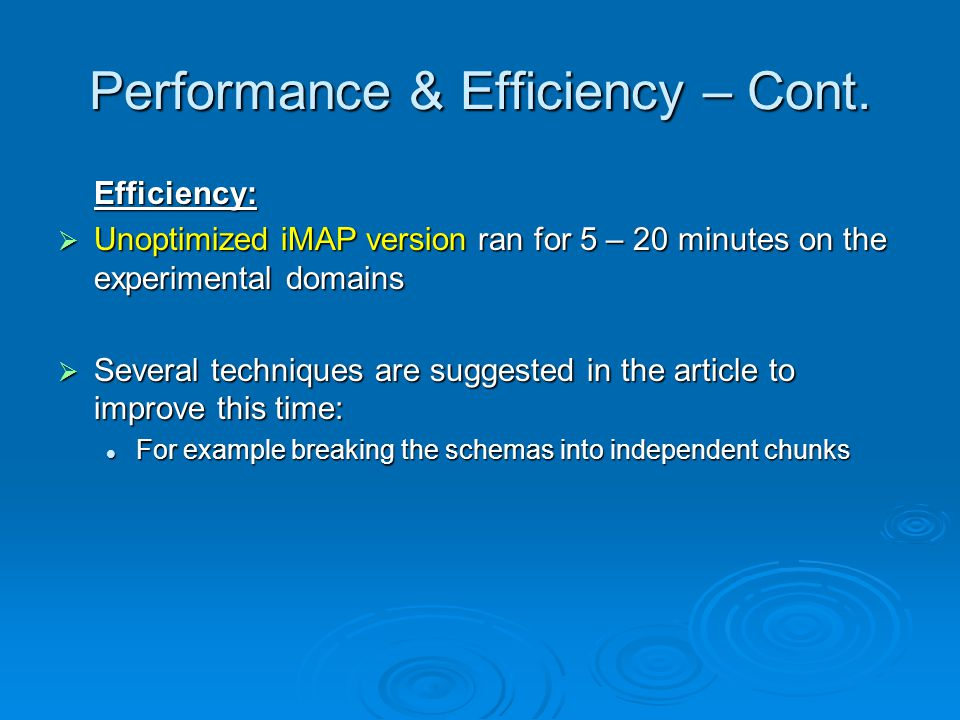 Performance & Efficiency – Cont.