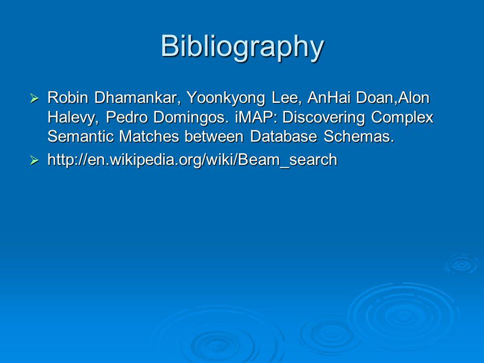 Bibliography Robin Dhamankar, Yoonkyong Lee, AnHai Doan,Alon Halevy, Pedro Domingos.