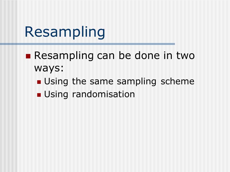 Resampling Resampling can be done in two ways: Using the same sampling scheme Using randomisation