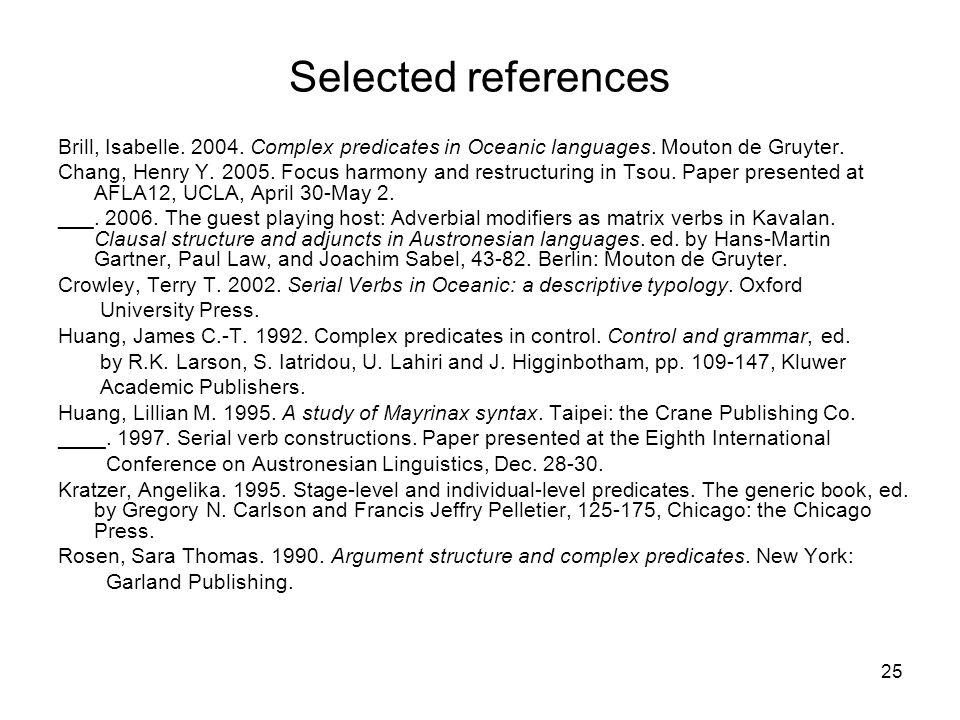 25 Selected references Brill, Isabelle. 2004. Complex predicates in Oceanic languages.