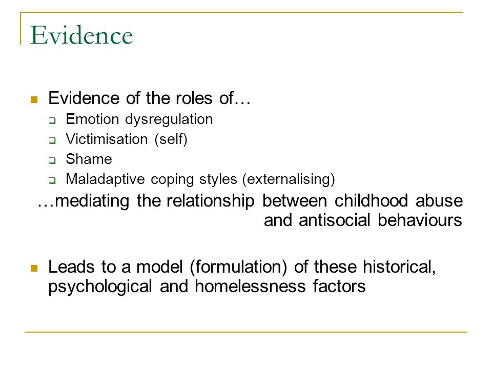 Evidence Evidence of the roles of… Emotion dysregulation Victimisation (self) Shame Maladaptive coping styles (externalising) …mediating the relations