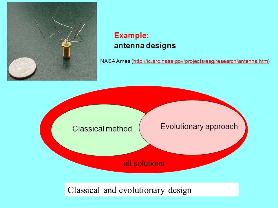 Classical and evolutionary design Example: antenna designs NASA Ames (http://ic.arc.nasa.gov/projects/esg/research/antenna.htm)http://ic.arc.nasa.gov/projects/esg/research/antenna.htm Classical method Evolutionary approach all solutions