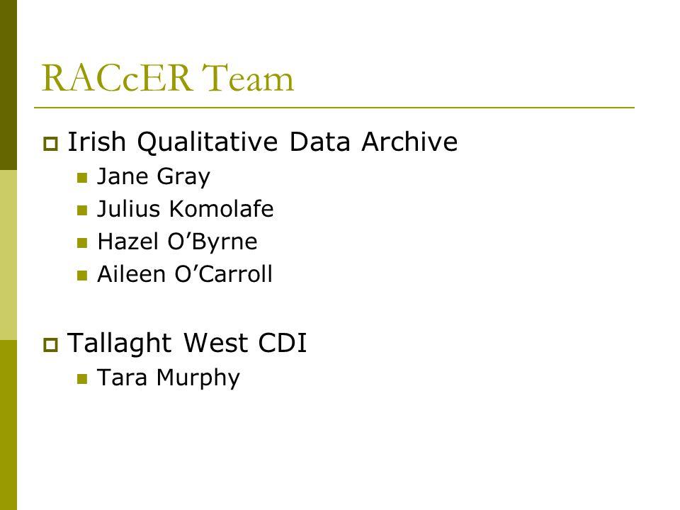 RACcER Team Irish Qualitative Data Archive Jane Gray Julius Komolafe Hazel OByrne Aileen OCarroll Tallaght West CDI Tara Murphy