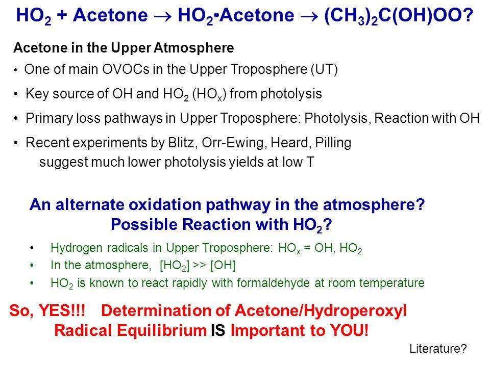 HO 2 + Acetone HO 2 Acetone (CH 3 ) 2 C(OH)OO.