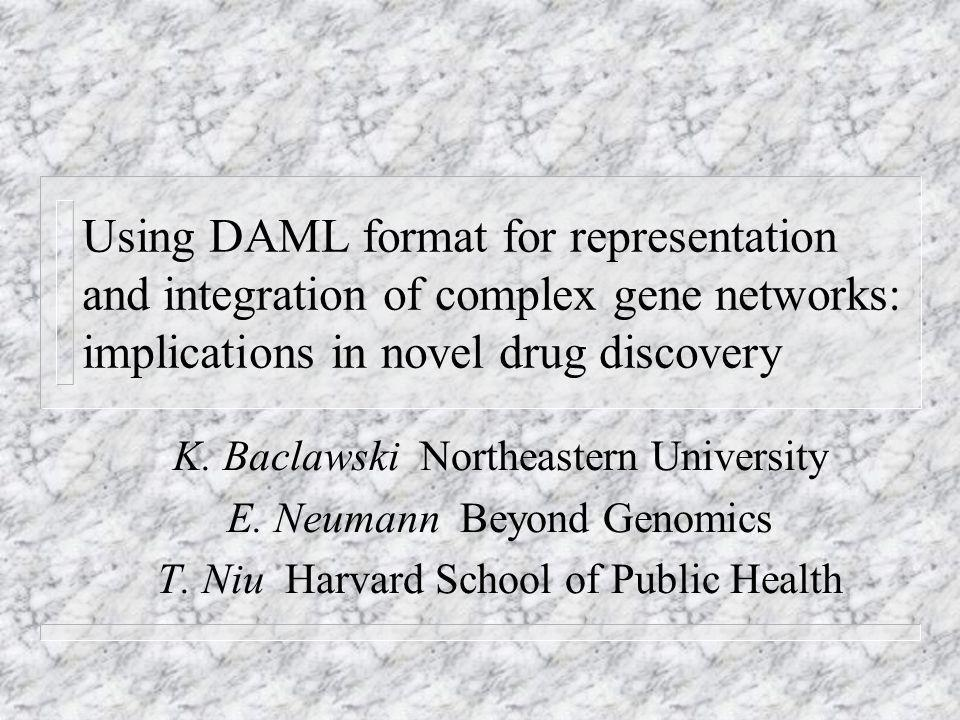 Using DAML format for representation and integration of complex gene networks: implications in novel drug discovery K.