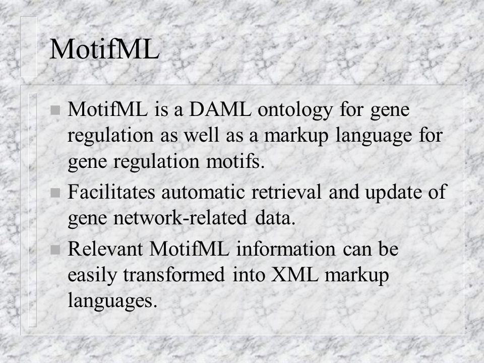 MotifML n MotifML is a DAML ontology for gene regulation as well as a markup language for gene regulation motifs.