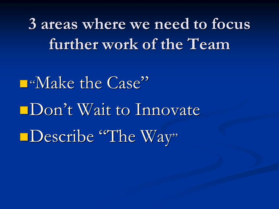 3 areas where we need to focus further work of the Team Make the Case Make the Case Dont Wait to Innovate Dont Wait to Innovate Describe The Way Describe The Way