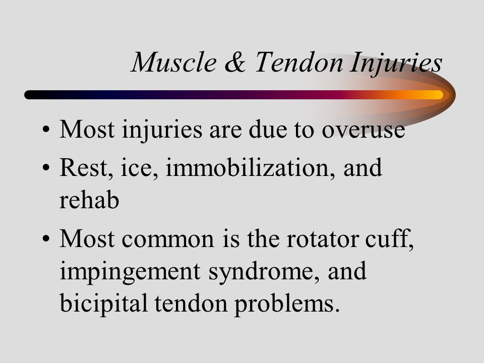 Muscle & Tendon Injuries Most injuries are due to overuse Rest, ice, immobilization, and rehab Most common is the rotator cuff, impingement syndrome,