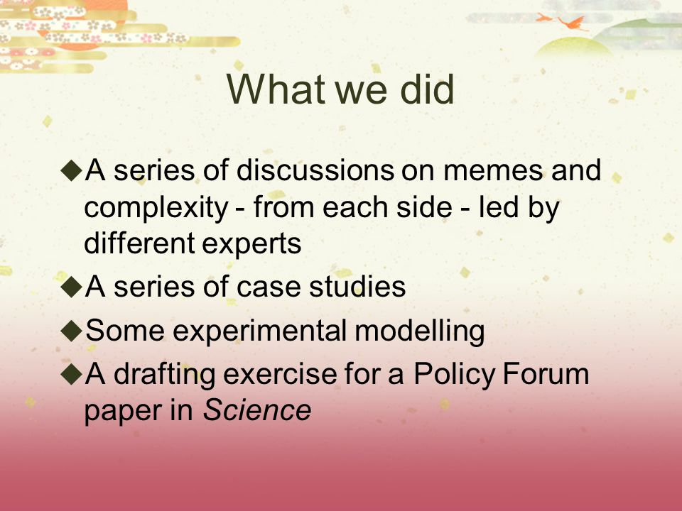 What we did A series of discussions on memes and complexity - from each side - led by different experts A series of case studies Some experimental mod