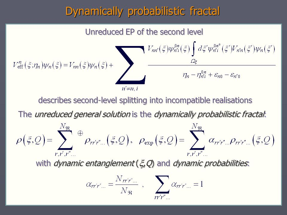 Dynamically probabilistic fractal Unreduced EP of the second level describes second-level splitting into incompatible realisations describes second-le