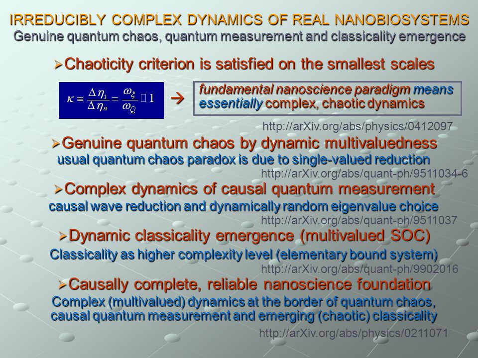 IRREDUCIBLY COMPLEX DYNAMICS OF REAL NANOBIOSYSTEMS Genuine quantum chaos, quantum measurement and classicality emergence Chaoticity criterion is satisfied on the smallest scales Chaoticity criterion is satisfied on the smallest scales Genuine quantum chaos by dynamic multivaluedness Genuine quantum chaos by dynamic multivaluedness usual quantum chaos paradox is due to single-valued reduction Complex dynamics of causal quantum measurement Complex dynamics of causal quantum measurement causal wave reduction and dynamically random eigenvalue choice Dynamic classicality emergence (multivalued SOC) Dynamic classicality emergence (multivalued SOC) Classicality as higher complexity level (elementary bound system) Causally complete, reliable nanoscience foundation Causally complete, reliable nanoscience foundation Complex (multivalued) dynamics at the border of quantum chaos, causal quantum measurement and emerging (chaotic) classicality fundamental nanoscience paradigm means essentially complex, chaotic dynamics http://arXiv.org/abs/quant-ph/9511034-6 http://arXiv.org/abs/quant-ph/9511037 http://arXiv.org/abs/quant-ph/9902016 http://arXiv.org/abs/physics/0412097 http://arXiv.org/abs/physics/0211071