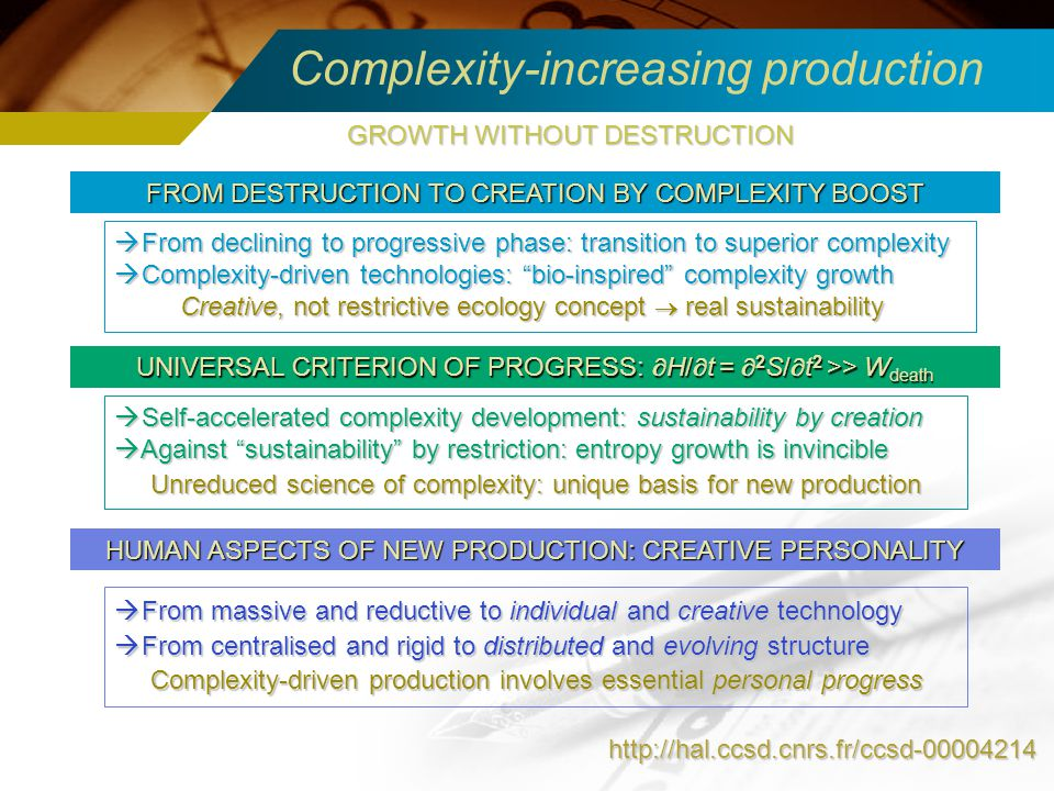 Complexity-increasing production http://hal.ccsd.cnrs.fr/ccsd-00004214 FROM DESTRUCTION TO CREATION BY COMPLEXITY BOOST From declining to progressive
