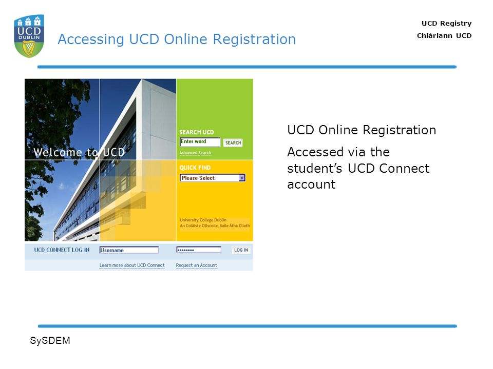 UCD Registry Chlárlann UCD SySDEM Accessing UCD Online Registration UCD Online Registration Accessed via the students UCD Connect account