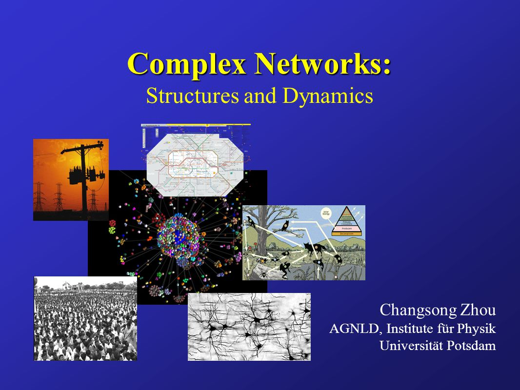 Complex Networks: Complex Networks: Structures and Dynamics Changsong Zhou AGNLD, Institute für Physik Universität Potsdam
