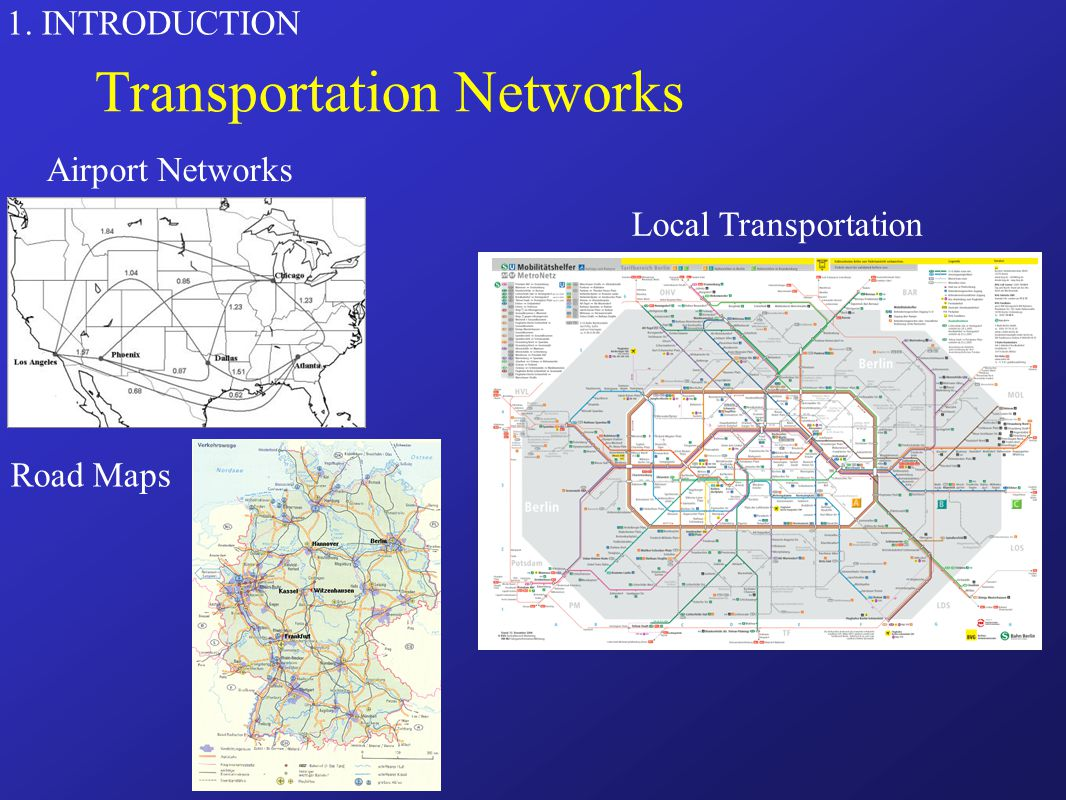 1. INTRODUCTION Transportation Networks Airport Networks Road Maps Local Transportation