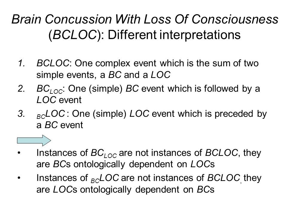 Brain Concussion With Loss Of Consciousness (BCLOC): Different interpretations 1.BCLOC: One complex event which is the sum of two simple events, a BC and a LOC 2.BC LOC : One (simple) BC event which is followed by a LOC event 3.