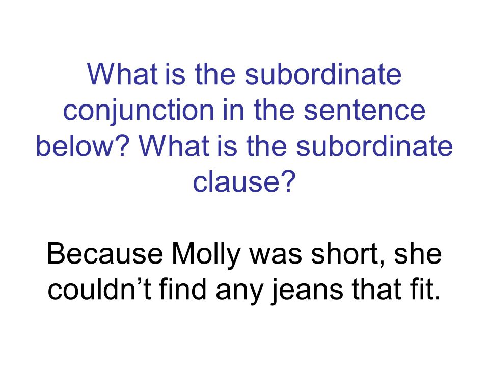 What is the subordinate conjunction in the sentence below? What is the subordinate clause? Because Molly was short, she couldnt find any jeans that fi