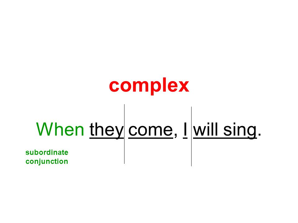 complex When they come, I will sing. subordinate conjunction