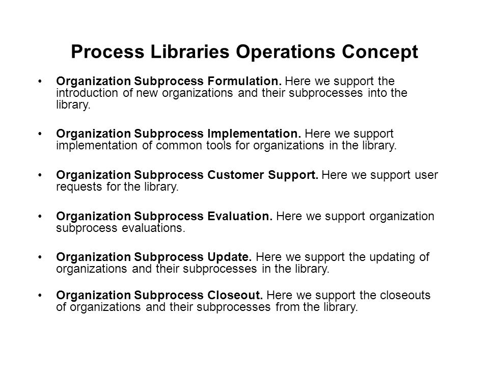 Process Libraries Operations Concept Organization Subprocess Formulation. Here we support the introduction of new organizations and their subprocesses