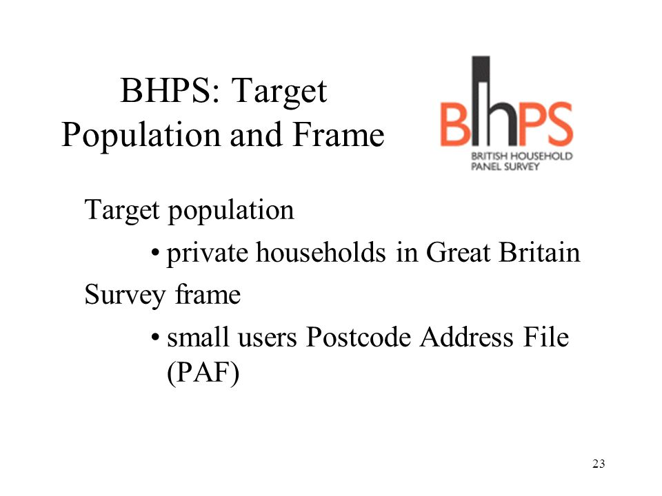 23 BHPS: Target Population and Frame Target population private households in Great Britain Survey frame small users Postcode Address File (PAF)