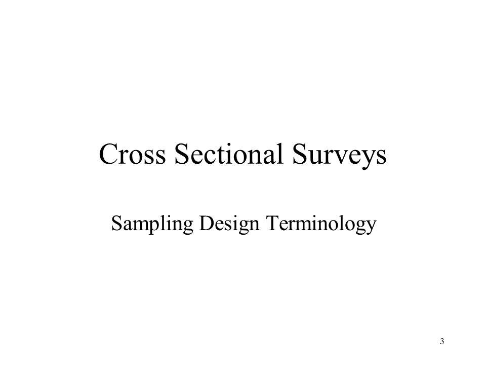 3 Cross Sectional Surveys Sampling Design Terminology