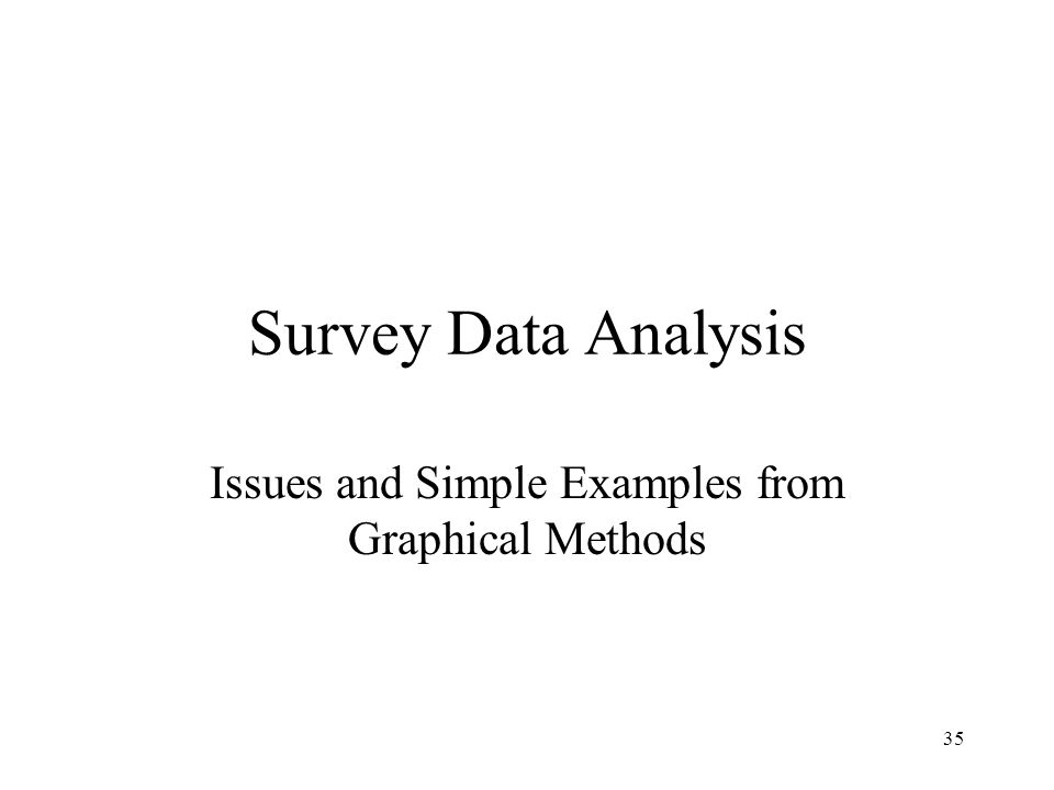35 Survey Data Analysis Issues and Simple Examples from Graphical Methods