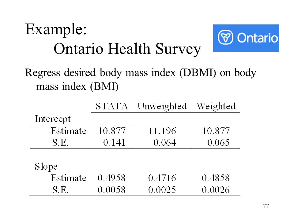 77 Example: Ontario Health Survey Regress desired body mass index (DBMI) on body mass index (BMI)