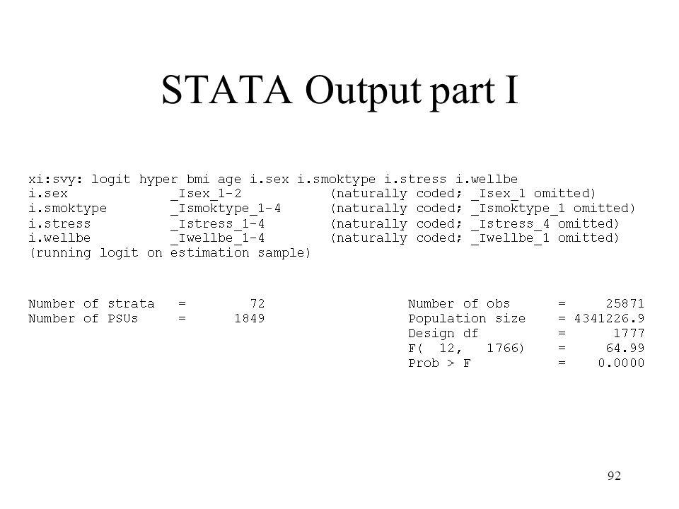 92 STATA Output part I