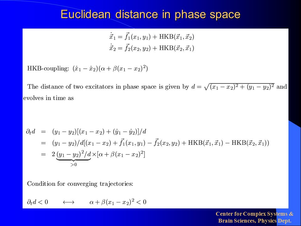 Center for Complex Systems & Brain Sciences, Physics Dept. Euclidean distance in phase space