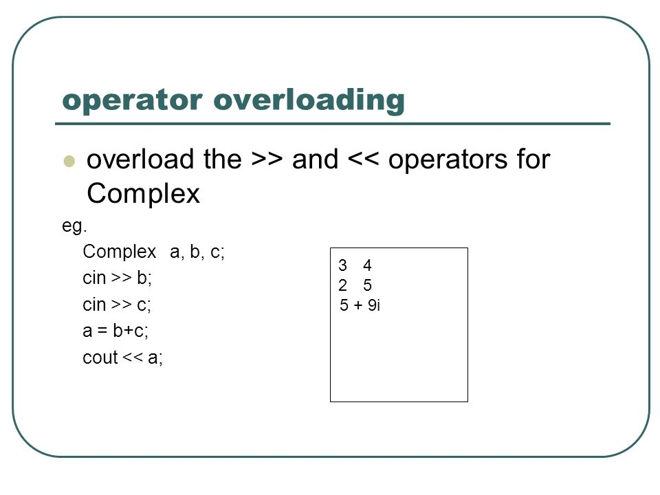 operator overloading overload the >> and << operators for Complex eg.