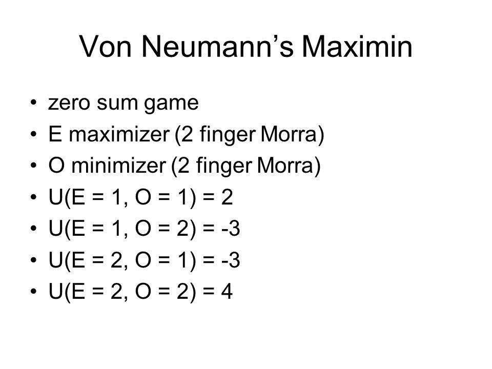 Von Neumanns Maximin zero sum game E maximizer (2 finger Morra) O minimizer (2 finger Morra) U(E = 1, O = 1) = 2 U(E = 1, O = 2) = -3 U(E = 2, O = 1) = -3 U(E = 2, O = 2) = 4