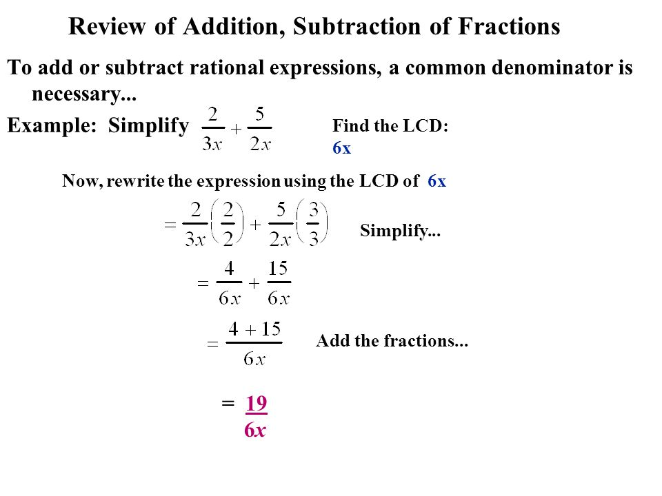 Review of Addition, Subtraction of Fractions To add or subtract rational expressions, a common denominator is necessary... Example: Simplify Simplify.