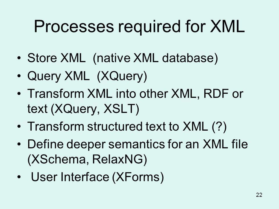 22 Processes required for XML Store XML (native XML database) Query XML (XQuery) Transform XML into other XML, RDF or text (XQuery, XSLT) Transform structured text to XML ( ) Define deeper semantics for an XML file (XSchema, RelaxNG) User Interface (XForms)
