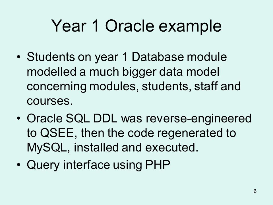 6 Year 1 Oracle example Students on year 1 Database module modelled a much bigger data model concerning modules, students, staff and courses.