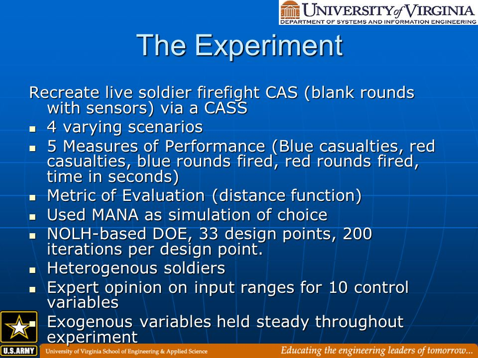 The Experiment Recreate live soldier firefight CAS (blank rounds with sensors) via a CASS 4 varying scenarios 4 varying scenarios 5 Measures of Performance (Blue casualties, red casualties, blue rounds fired, red rounds fired, time in seconds) 5 Measures of Performance (Blue casualties, red casualties, blue rounds fired, red rounds fired, time in seconds) Metric of Evaluation (distance function) Metric of Evaluation (distance function) Used MANA as simulation of choice Used MANA as simulation of choice NOLH-based DOE, 33 design points, 200 iterations per design point.