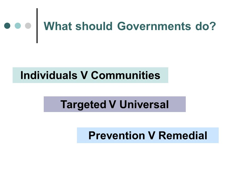 What should Governments do Individuals V Communities Targeted V Universal Prevention V Remedial