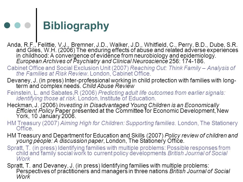Bibliography Anda, R.F., Felittie, V.J., Bremner, J.D., Walker, J.D., Whitfield, C., Perry, B.D., Dube, S.R. and Giles, W.H. (2006) The enduring effec