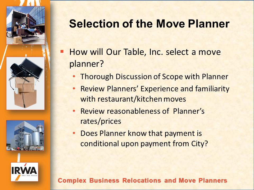 Selection of the Move Planner How will Our Table, Inc.
