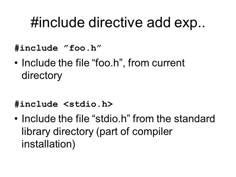 #include directive add exp..