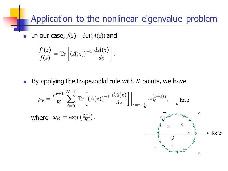 Application to the nonlinear eigenvalue problem In our case, f(z) = det(A(z)) and By applying the trapezoidal rule with K points, we have where Im z Re z O