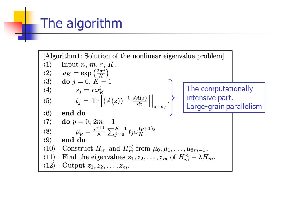 The algorithm The computationally intensive part. Large-grain parallelism