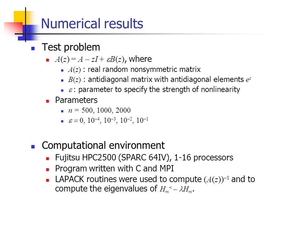 Numerical results Test problem A(z) = A – zI + B(z), where A(z) : real random nonsymmetric matrix B(z) : antidiagonal matrix with antidiagonal element